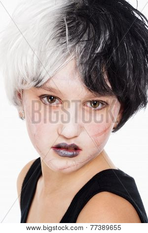 Young Girl In Wig With Scary Scar