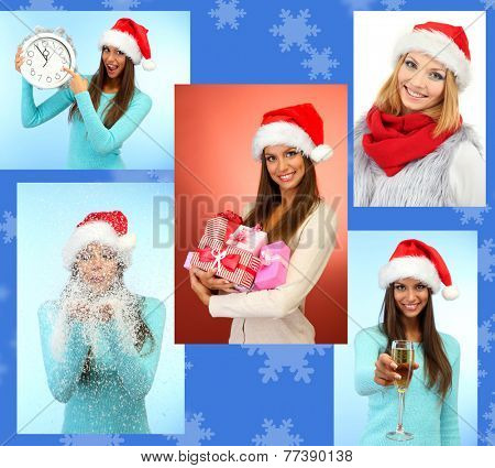 Christmas collage. Young happy girls