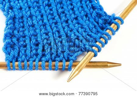 Two Spokes With Knit Woolen Cloth Isolated Macro