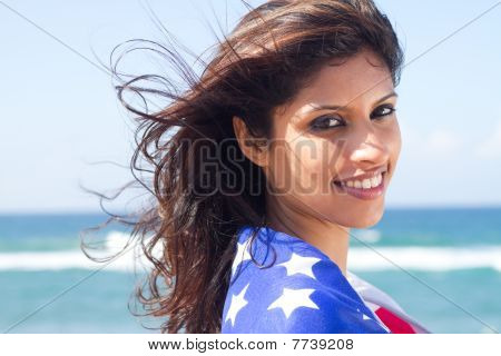 closbeautiful woman with american flag