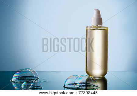 Bottle Of Liquid Soap With Bubble