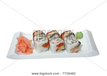 Sushi (rolls) With Crab, Cucumber And Smoked Eel
