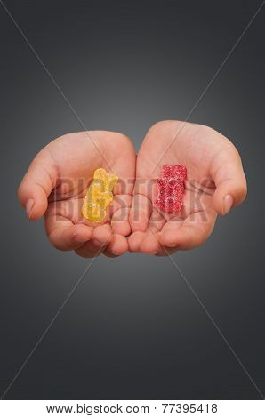 Hands With Gummy Bears