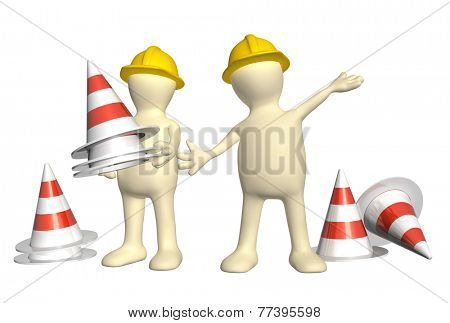 Two 3d puppets with emergency cones. Isolated on white background
