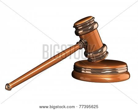 Symbol of justice - judicial 3d gavel. Object isolated on white background