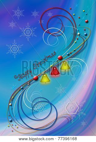 Abstract background with snowflakes and bells and decor of colored of whorls
