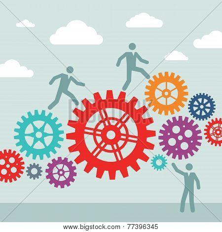 Business people and machine gears wheel - vector concept illustration. Cogwheel illustration. Design