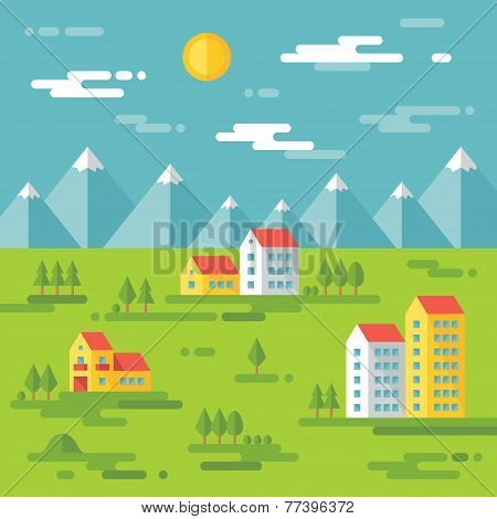 Landscape with buildings - vector background illustration in flat style design.