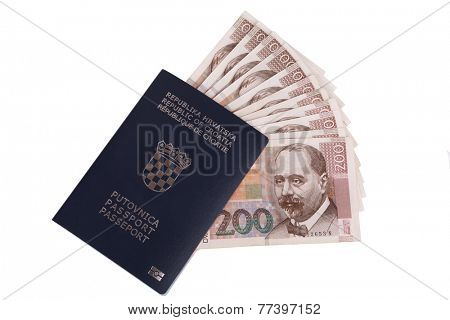 Croatian passport with Croatian money (kuna), isolated on white
