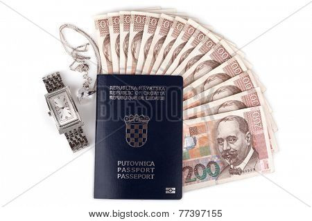 Croatian passport with valuables, isolated on white