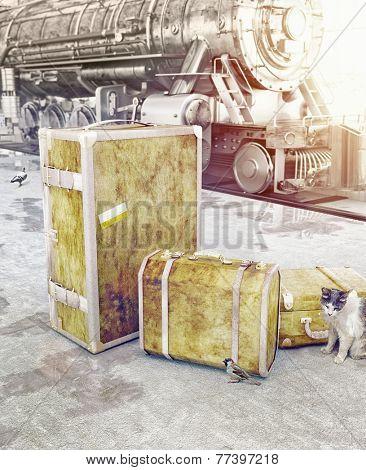 old vintage luggage on the railway platform. 3d concept