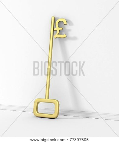 Gold Key With Pound Symbol Isolated On The Wall.
