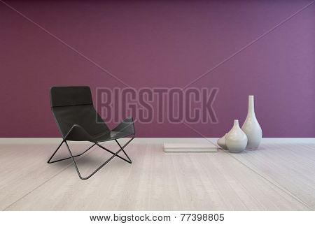 3D Rendering of Folding Black Lounge Chair and White Elegant Vases on Empty Room with Red Violet Wall and Light Brown Flooring.
