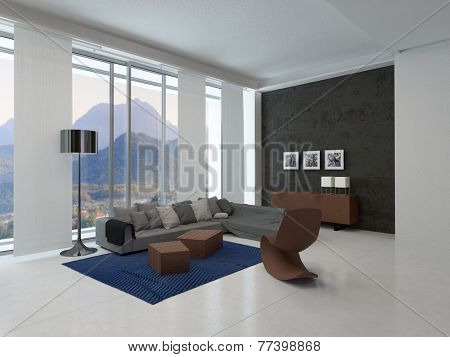 3D Rendering of Elegant Modern Living Room Design in an Architectural Residence with Wooden Furniture and Glass Windows for Relaxing Outside View.