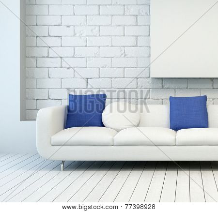 3D Rendering of White Couch with White and Blue Pillows at Architectural Living Room with White Wall and Flooring.