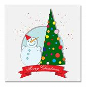 stock photo of crescent-shaped  - card with Christmas tree - JPG