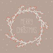 stock photo of christmas wreath  - Vintage card with Christmas wreath vector illustration - JPG