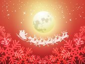 picture of moonlit  - Santa driving his sleigh on a moonlit night riding through a colorful red sky with twinkling stars and snowflakes  vector greeting card design or invitation - JPG