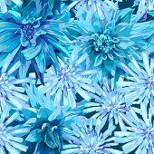stock photo of chicory  - seamless pattern of winter frozen flowers georgina and chicory - JPG