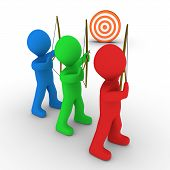 stock photo of archer  - Different colored archers are aiming at the same target - JPG