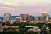 picture of portland oregon  - Downtown Portland Oregon from the Vista Bridge at sunset with a thunderstorm in the background - JPG