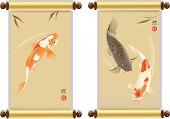 image of koi fish  - Vector illustration of traditional sacred Japanese Koi carp fish - JPG