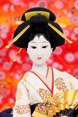 stock photo of geisha  - Close up of traditional Japanese geisha doll - JPG