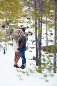 picture of amor  - Young amorous couple having date in winter park - JPG