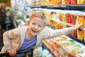 pic of grocery cart  - smiling positive boy grocery shopping at the supermarket sitting in the cart helping his mother - JPG
