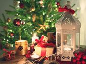 pic of desert christmas  - shining candles with christmas decorations - JPG