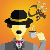 picture of bolero  - this is a gentlemen who drinks a cup of coffee with his bolero hat put on his head - JPG