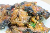 foto of catfish  - Spicy Stir Fried catfish on dish - JPG