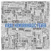 image of hemorrhage  - Blue Viral Hemorrhagic Fever Texts and Related Keywords in Gray in Simple Word Tag Cloud Design on White Background - JPG