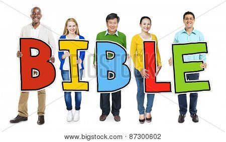 Multiethnic Group of People Holding Letter Bible