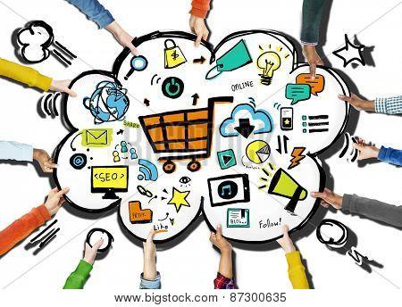 Diversity Hands Online Marketing Commerce Volunteer Support Concept
