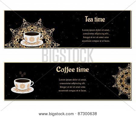 Set of  cards with cups,  ornate eastern round elements