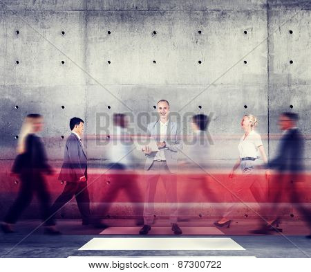 Businessman Standing Out From The Crowd Working Concept