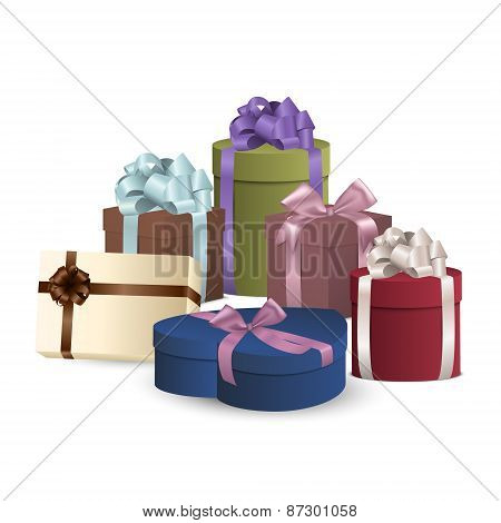Set Of Colorful Gift Boxes With Bows And Ribbons.