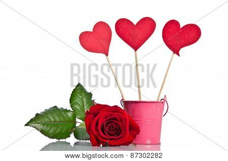 Handmade Skewers With Cloth Hearts And Beauty Red Rose For Celebration  On White Background
