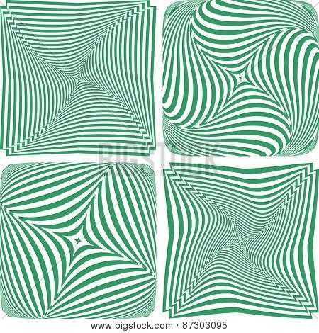 Rotation and twisting. Abstract designs set. Vector art.