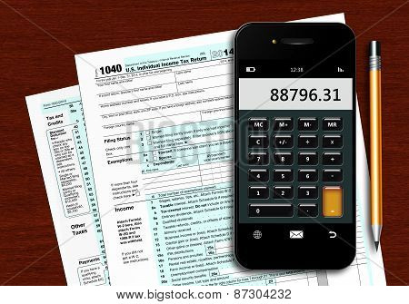 U.s. Individual Income Tax Return Form 1040 With Phone Calculator And Pencil