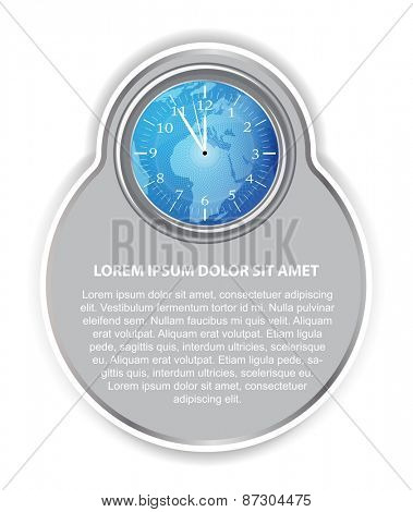 Abstract vector background with blue clock, continents,  and place for text