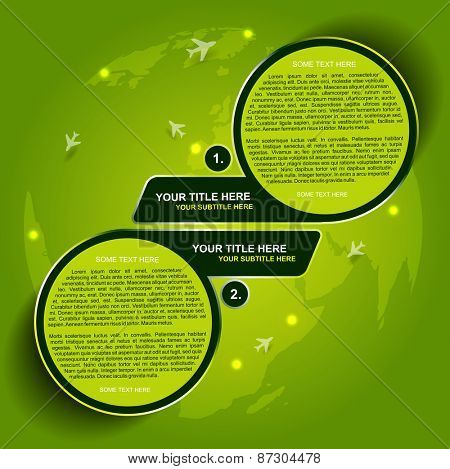Abstract green vector background for transporting or spedition with two steps and airplane symbols on continents