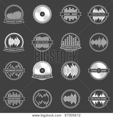 Music emblems or badges vector set