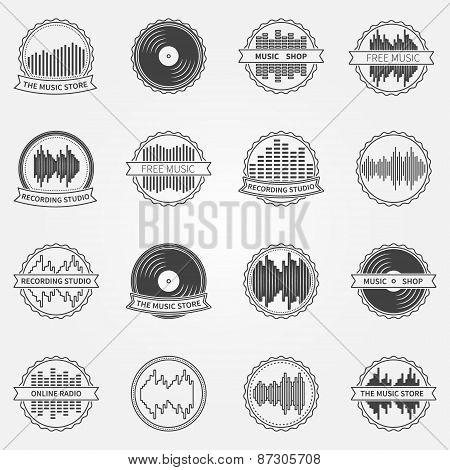 Sound vector logo and emblem set