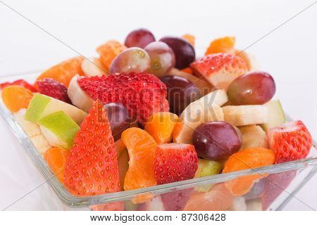 Closeup of a colorful fruit salad in a glass bowl