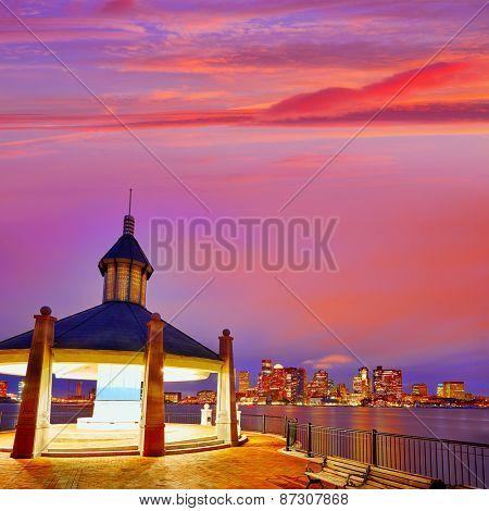 Boston sunset from wharf in Massachusetts USA