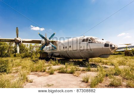 Turboprop Aircraft An-12 At An Abandoned Aerodrome In Samara, Russia