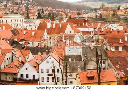 the red roofs of the old town and streets