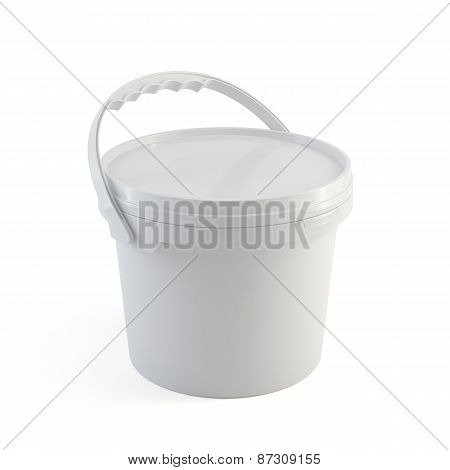 White Closed Paint Plastic Bucket Container With Plastic Handle Isolated On White Background